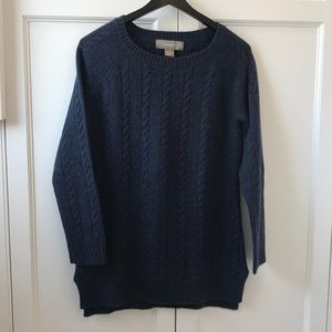 Navy blue ribbed knit cashmere sweater size Small